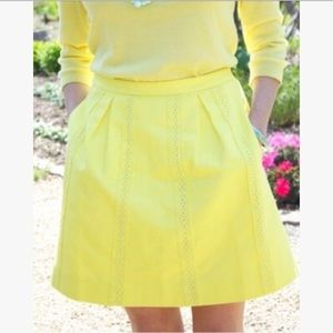 J Crew Yellow Pleated Skirt With Lace & Pockets